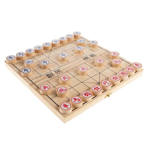 Chinese Chess- Wooden Beginner's Traditional Tabletop Strategy and Skill Board Game with Folding Board by Hey! Play!