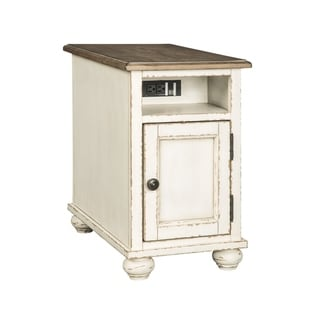Realyn Traditional Chair Side End Table White/Brown