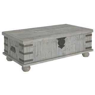 Carynhurst Casual Lift Top Cocktail Table White Wash Gray