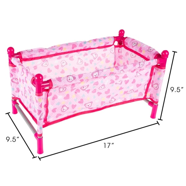 """Pink Doll Pack N Play Crib Fits Up To 18/"""" Dolls Blanket Carry Bag Included"""