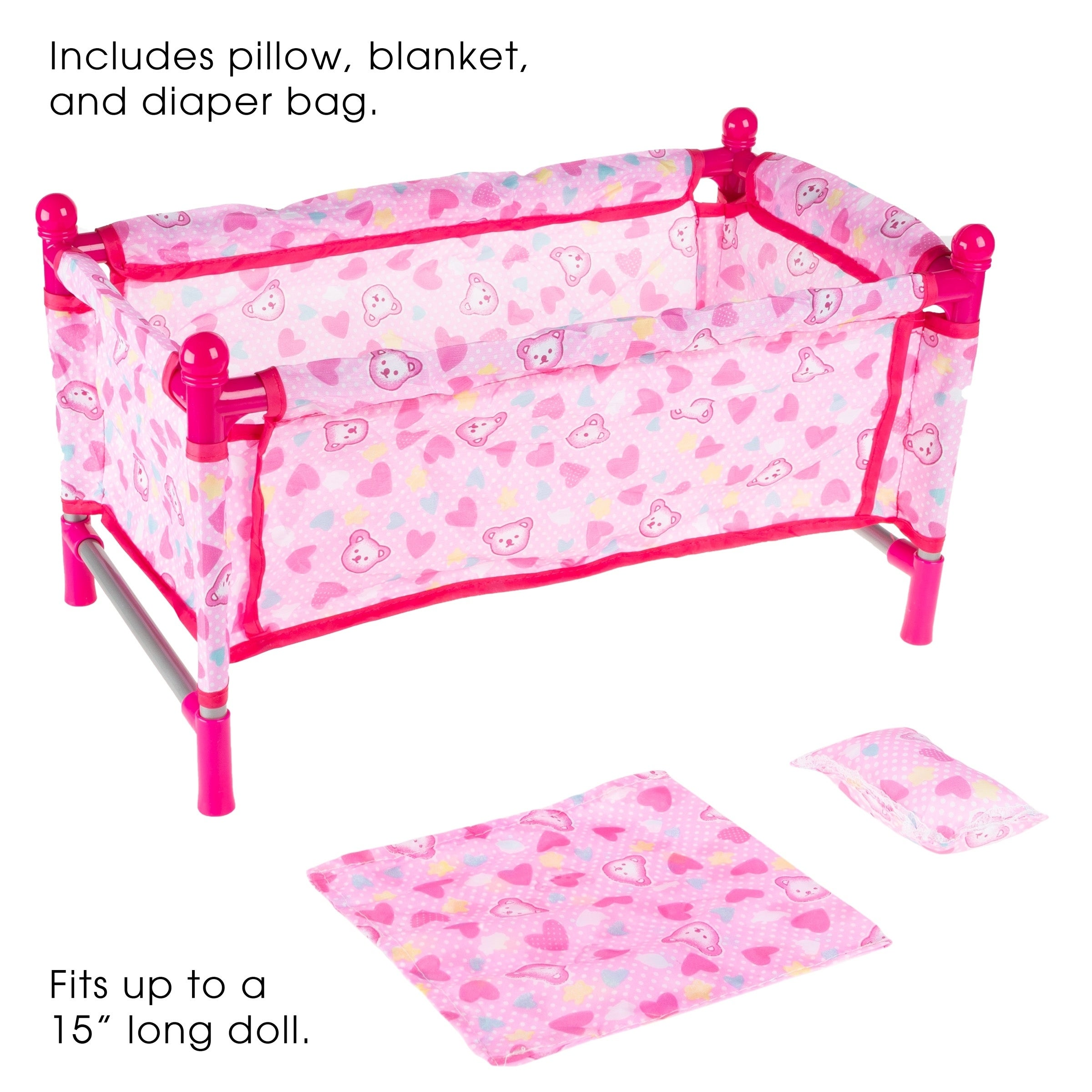 Baby Doll Bed And Playpen Play Crib For 15 Inch Dolls And Stuffed Animals With Pillow Blanket And Carrying Bag By Hey Play Overstock 28082603
