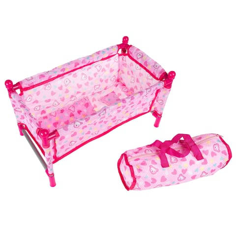 Baby Doll Bed and Playpen- Play Crib for 15-Inch Dolls and Stuffed Animals with Pillow, Blanket and Carrying Bag by Hey! Play!