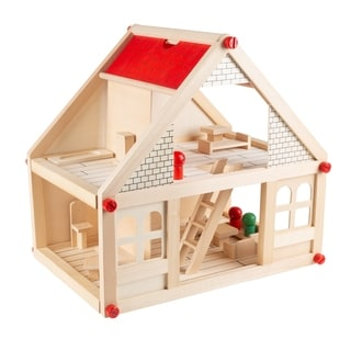 Dollhouse for Kids- Classic Pretend Play 2 Story Wood Playset with Furniture Accessories and Dolls by Hey! Play!