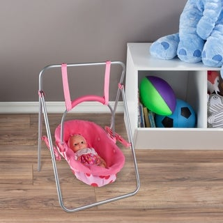"""2-in-1 Baby Doll Swing and Carrier Toy- Fits 13"""" Babies, Dolls & Stuffed Animals, Pink Pretend Play Set by Hey! Play!"""