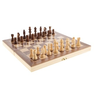 Chess Set with Folding Wooden Board- Beginner's Portable Classic Strategy and Skill Game for Family Fun by Hey! Play!
