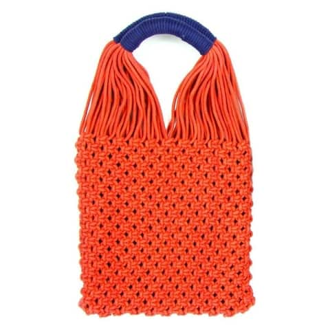 Macrame Handled Bag, Blue