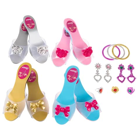 Princess Dress Up Set- High Heels, Bracelets, Earrings, Rings-Pretend Play Costume Accessories by Hey! Play!