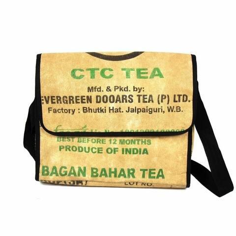 Handmade Upcycled Tea Sack Crossbody Messenger Bag