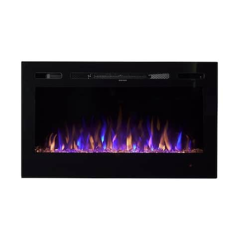 Black Metal/Glass 36-inch Crystal Flame Effect LED Wall Mounted or Recessed Electric Fireplace