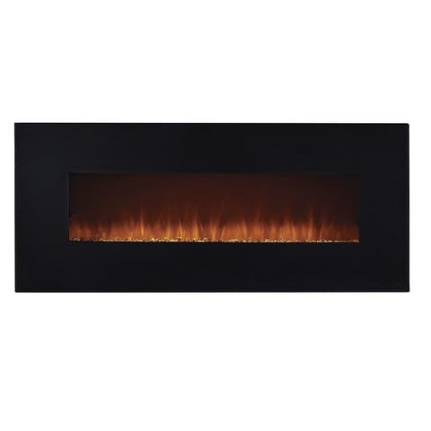 50-in. LED Wall-mounted Crystal Flame Electric Fireplace