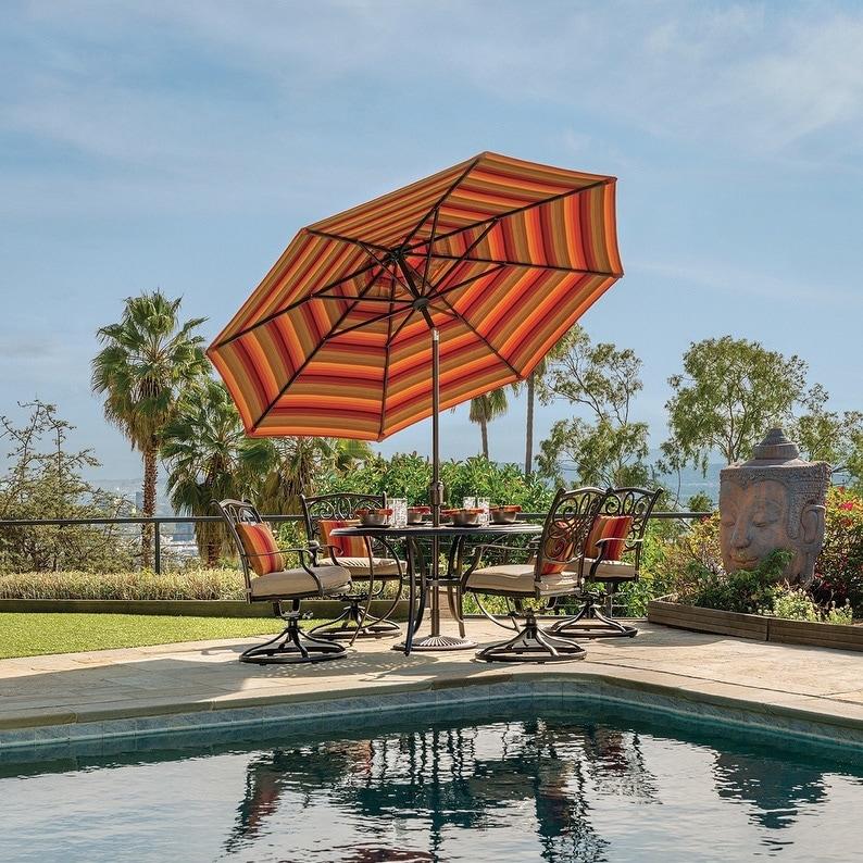 Havenside Home Hapuna 9-foot Octagon Push Button Tilt Umbrella (Taupe - Solid - Olefin Canopy)