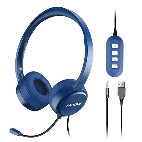 Mpow USB Computer Headset with Microphone Noise Cancelling Lightweight PC Headset Wired Headphones Business Headset for Skype