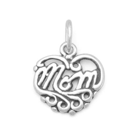 Sterling Silver Mom Heart Charm, 12mm