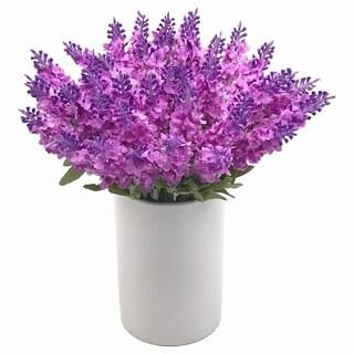 Enova Home 40 Heads Purple Lavender Arrangement in White Ceramic Vase Silk Flower Arrangement Centerpiece for Home Decoration