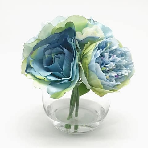 Enova Home Mixed Open Rose and Peony Silk Flower in Clear Glass Vase with Faux Water