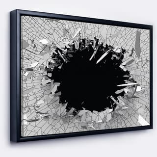 Silver Orchid 'Abstract Broken Wall 3D Design' Abstract Framed Canvas Wall Art