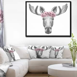 Silver Orchid 'Designart Moose with Floral Head Wreath' Moose Framed Canvas Art Print