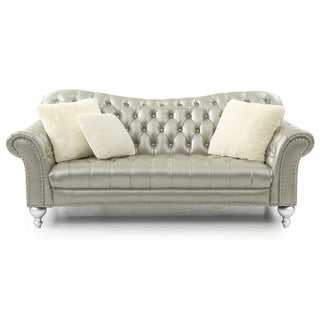 LYKE Home Gold/Silver Button Tuffed Sofa