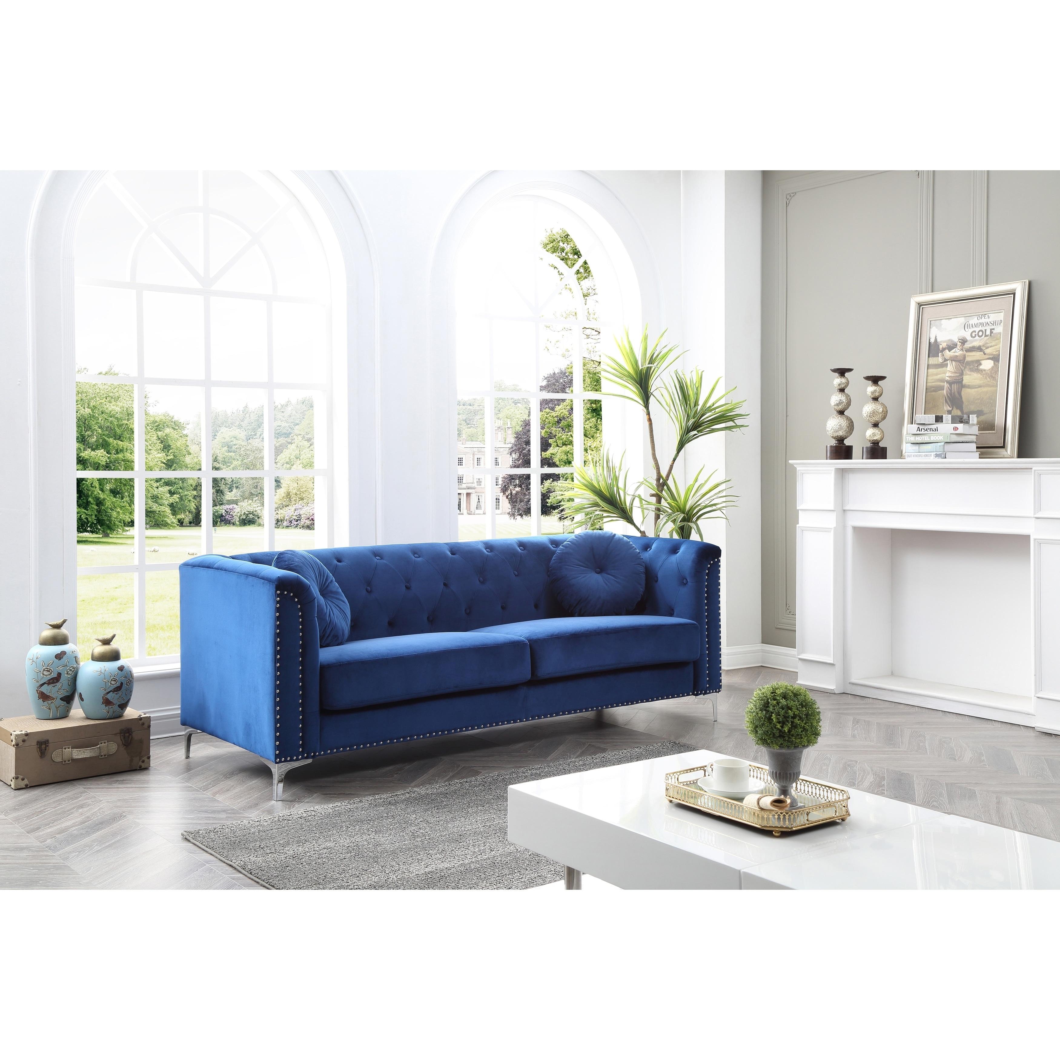 LYKE Home Nailhead Trim Navy Blue Velvet Sofa