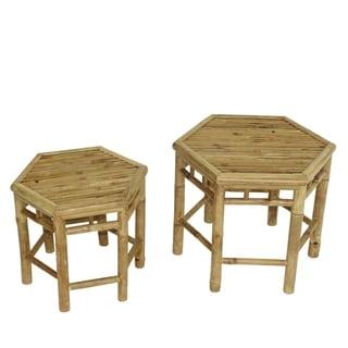 Havenside Home Naukati Bay Natural Bamboo End Tables (Set of 2)