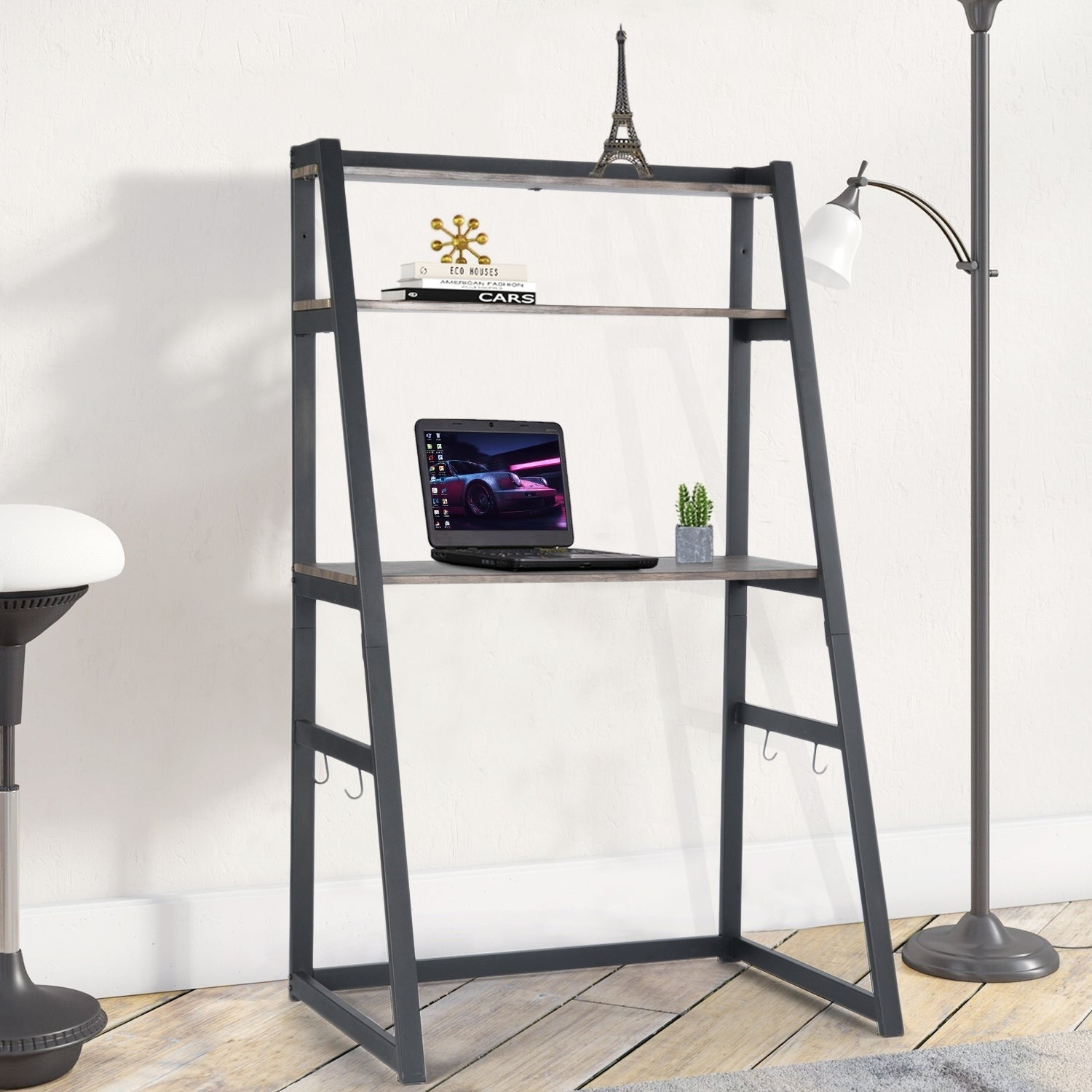 competitive price 685a1 0659e FurnitureR Computer Desk Writing Table with Ladder Shelf Bookcase