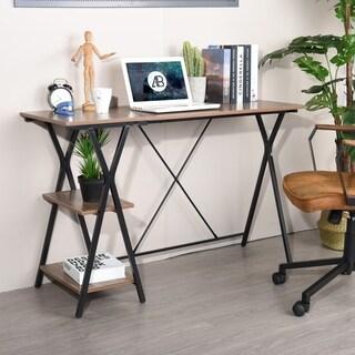 Carbon Loft Searz Computer Desk Writing Table Laptop Workstation With Shelves