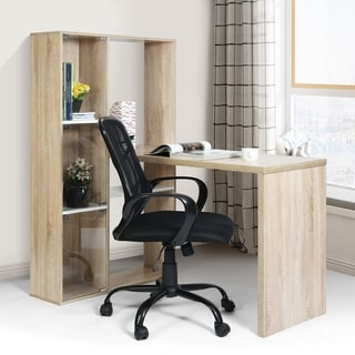 FurnitureR Office Computer Desk Writing Laptop Table with Bookcase