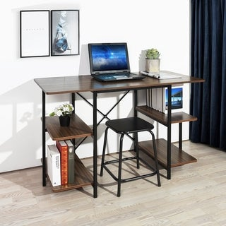 Carbon Loft Searz Computer Desk Writing Table Workstation with 6-tier Open Shelves