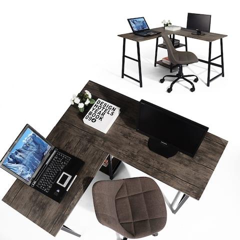 Carbon Loft L-shaped Corner Computer Desk Writing Table with Shelf