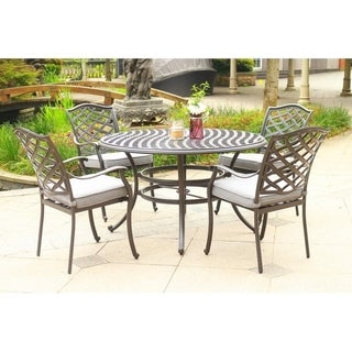 Havenside Home Deer Lake 5-piece Outdoor Aluminum Dining Set with Cushions