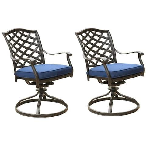 Deer Lake Aluminum Dining Swivel Chairs with Cushions (Set of 2) by Havenside Home