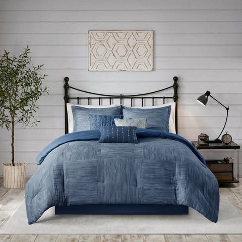 Madison Park Clayton 7 Piece Printed Seersucker Comforter Set