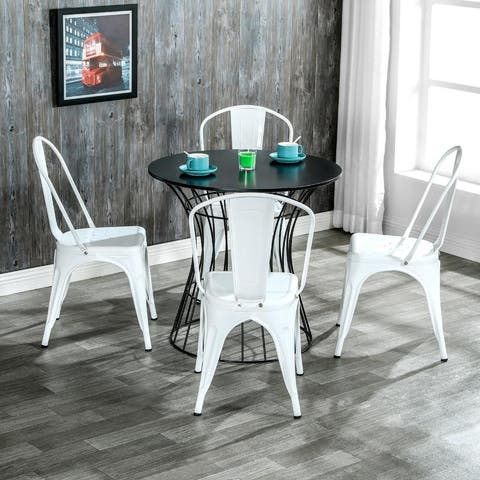 Morden Trattoria Industrial Iron Kitchen Chairs (Set of 4)