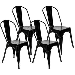 Morden Industrial Style Iron Dining Room Chairs Kitchen Trattoria Chairs Set of 4 (Black - Side Chairs)