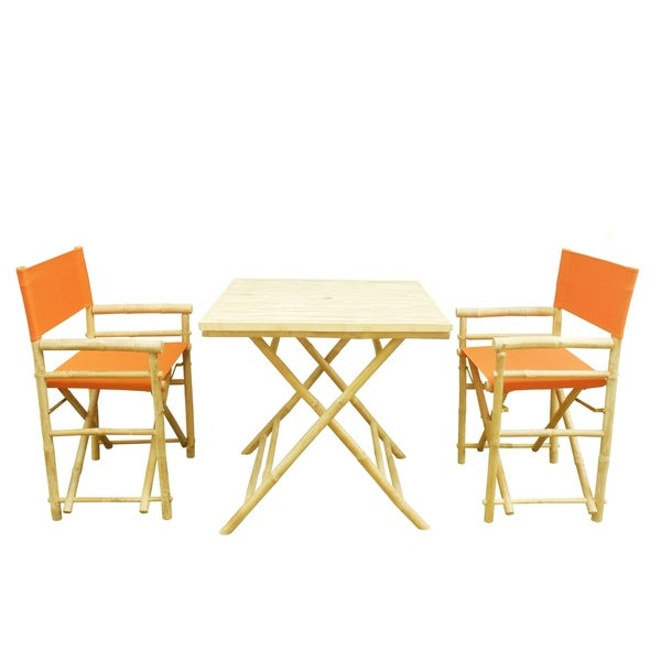 Bamboo Set Of 2 Director Chairs And 1 Square Bamboo Table