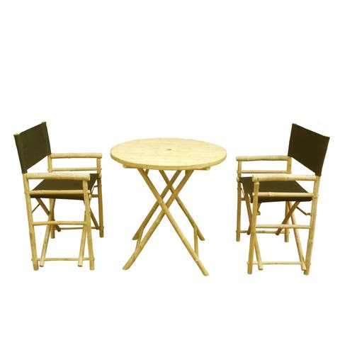 Bamboo Set of 2 Director Chairs and 1 Round Bamboo Table