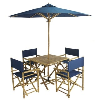 Havenside Home Salute 6-piece Bamboo Patio Set with Square Table and Umbrella