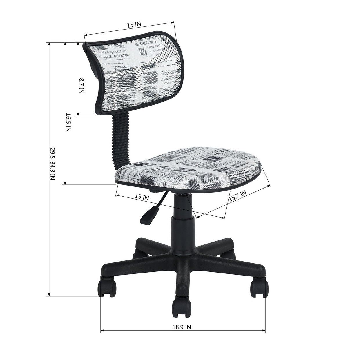 Mid Back Computer Task Chair 360 Swivel For Kids Students Mesh Back Fabric Seat