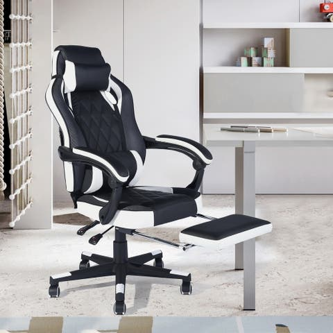 Porch & Den Yankton Black Ergonomic Reclining Gaming Chair with Footrest and Neck Pillow