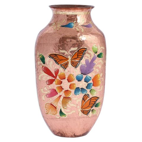 Handmade Butterfly Dance Copper vase (Mexico)