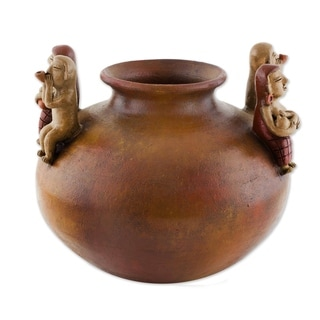 Handmade Mesoamerican Villages Ceramic decorative vase  (Nicaragua)