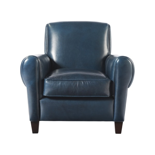 Shop Laguna Blue Leather Accent Chair Free Shipping