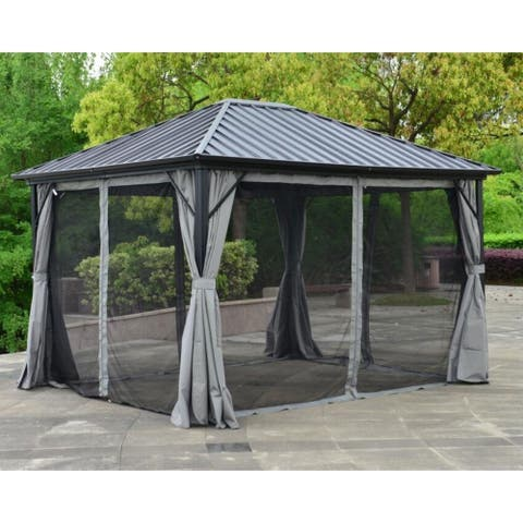 ALEKO Aluminum and Steel Hardtop Gazebo 12 x 10 ft with Mosquito Net and Curtain Black