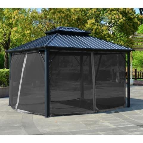 ALEKO Black Double Roof Aluminum and Steel Hardtop Gazebo with Mosquito Net - 12' x 10'