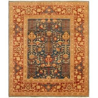 ECARPETGALLERY Hand-knotted Peshawar Finest Dark Blue Wool Rug - 8'0 x 9'8