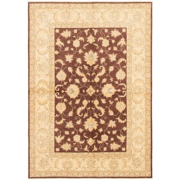 ECARPETGALLERY Hand-knotted Peshawar Finest Dark Brown Wool Rug - 6'2 x 8'9