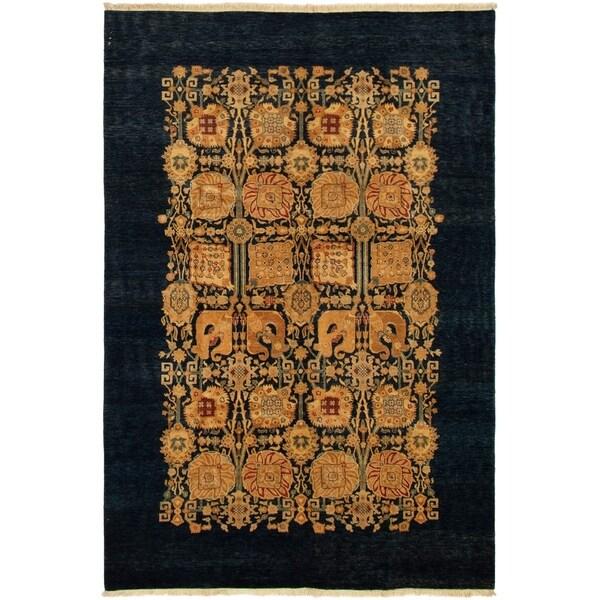 ECARPETGALLERY Hand-knotted Pako Persian 18/20 Navy Blue Wool Rug - 6'0 x 9'0