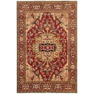 ECARPETGALLERY Hand-knotted Serapi Heritage Dark Red Wool Rug - 6'0 x 9'0