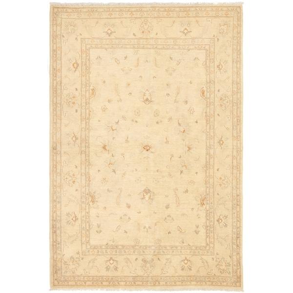 ECARPETGALLERY Hand-knotted Chobi Finest Cream Wool Rug - 6'9 x 9'8