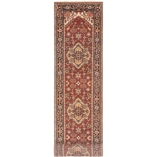 ECARPETGALLERY Hand-knotted Serapi Heritage Dark Copper Wool Rug - 2'7 x 19'6